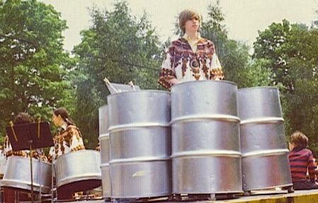 Daniel Harrison: 1975, Memorial Day, Chappaqua New York. Calliope's Children Steel Drum Band on a flatbed truck hauled along the parade route.